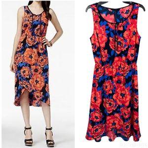 Tommy Hilfiger Coral Blue Floral Faux Wrap Dress